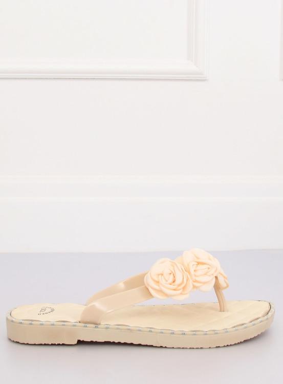 Klapki japonki z kwiatami beżowe YJL-1818 BEŻ