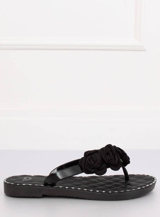 Klapki japonki z kwiatami czarne YJL-1818 CZARNY