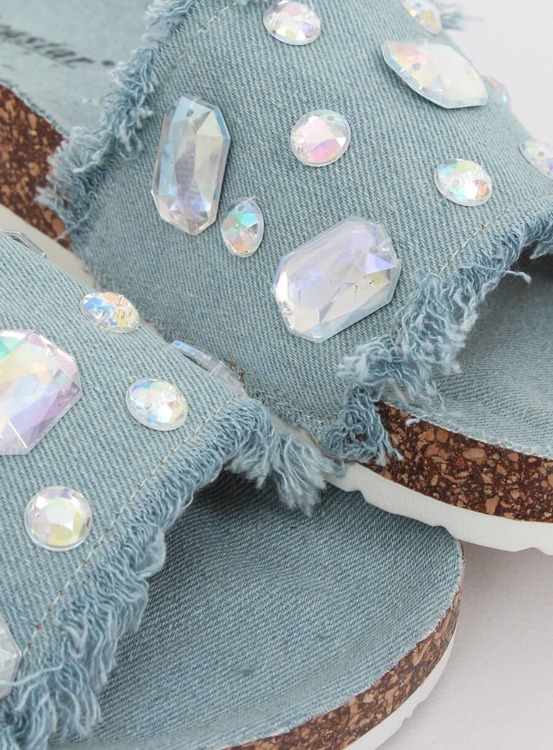 Klapki jeansowe niebieskie CK100 LT.BLUE