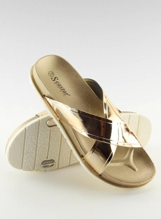 Klapki mirror look złote CK46P GOLD