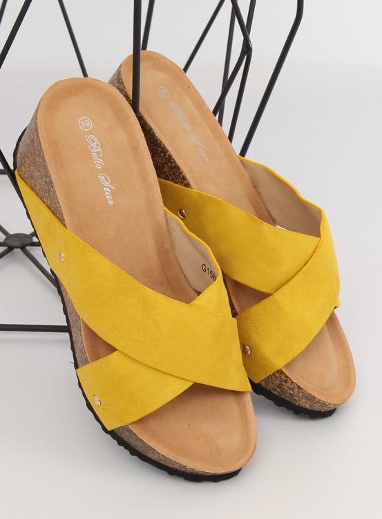 Klapki na koturnie żółte G1560 YELLOW