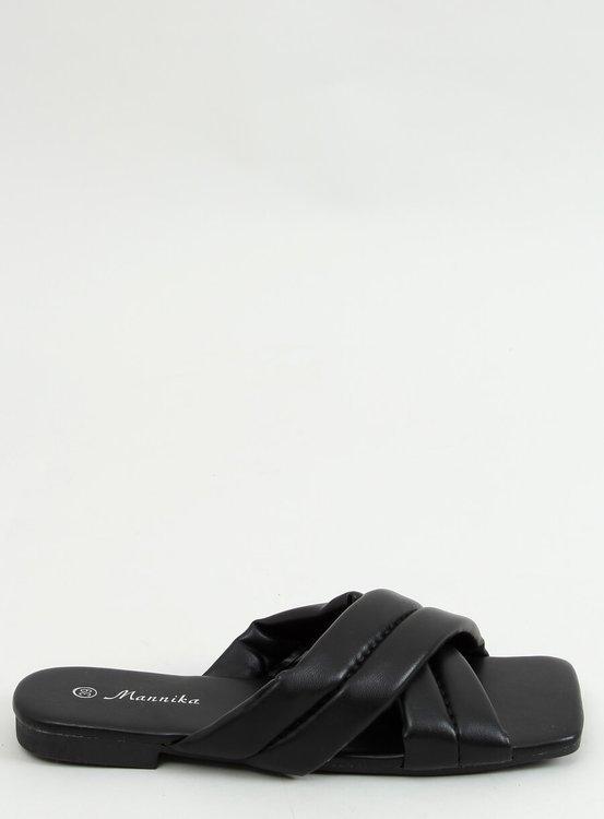 Klapki na kwadratowej podeszwie czarne S060191 BLACK