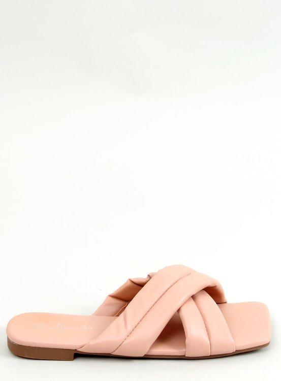 Klapki na kwadratowej podeszwie różowe S060191 PINK