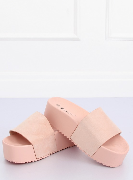 Klapki na wysokiej podeszwie różowe CK76P PINK