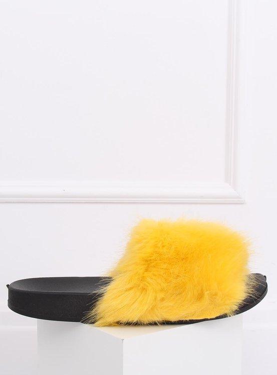 Klapki z futerkiem żółte CK107P YELLOW