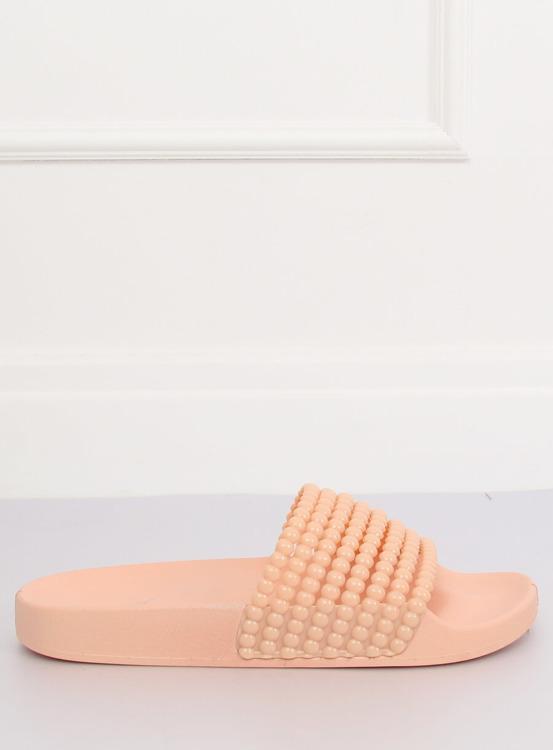 Klapki z koralikami różowe G301 PINK