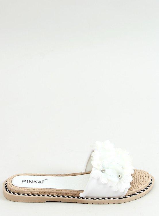 Klapki z kwiatami białe LS003 WHITE