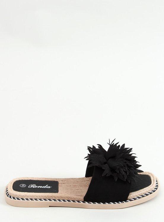 Klapki z kwiatami czarne 35-218 BLACK