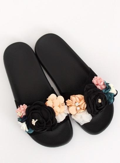 Klapki z kwiatami czarne BG19 BLACK