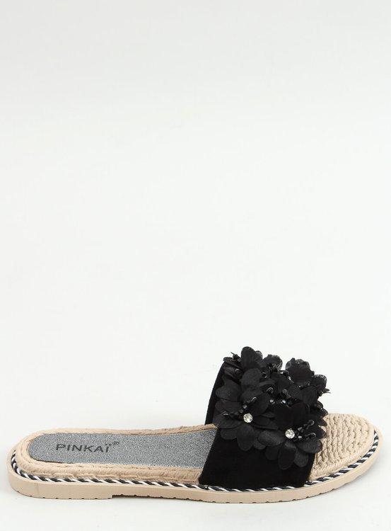 Klapki z kwiatami czarne LS003 BLACK