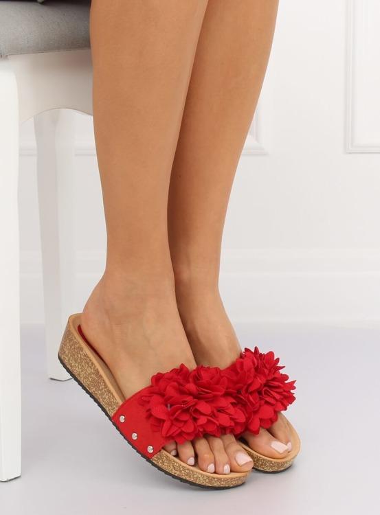Klapki z kwiatami czerwone S63 RED