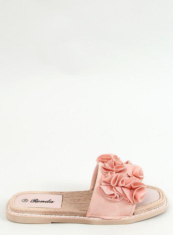 Klapki z kwiatami różowe 35-219 PINK