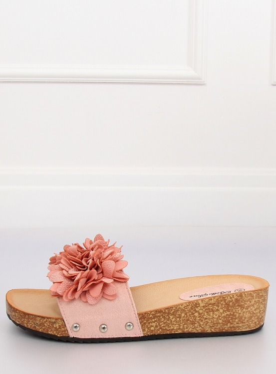 Klapki z kwiatami różowe S63 PINK