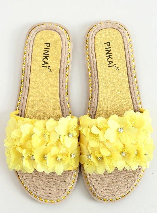 Klapki z kwiatami żółte LS003 YELLOW