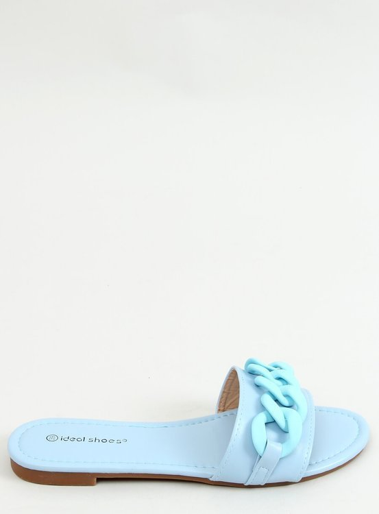 Klapki z łańcuchem niebieskie 7857 BLUE