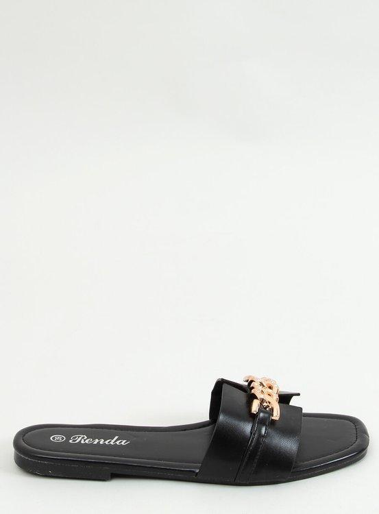 Klapki z ozdobnym łańcuchem czarne 35-230 BLACK