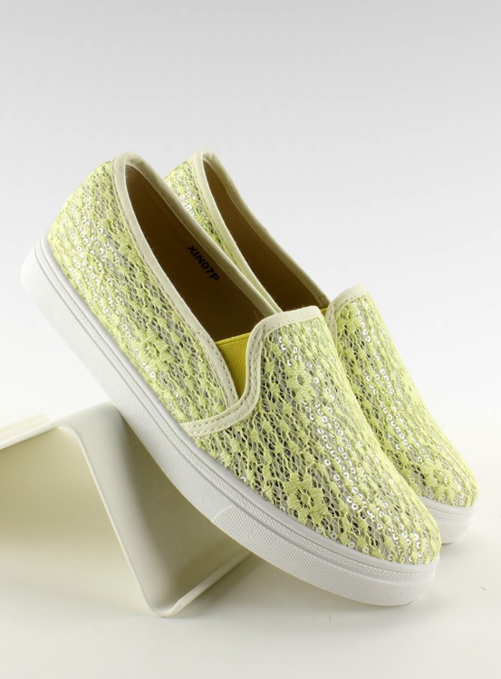Koronkowe slip-on pastele XIN07P Yellow