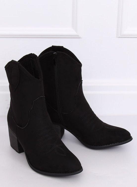 Kowbojki zamszowe czarne 5689 BLACK