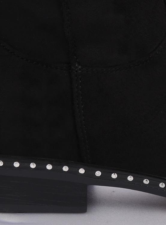 Kozaki damskie oficerki czarne H305 BLACK