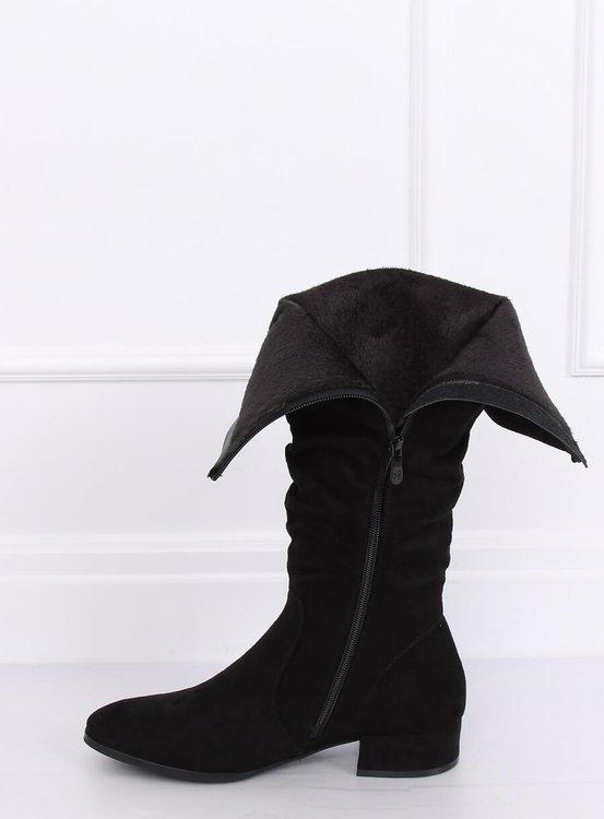 Kozaki damskie zamszowe czarne 3005 BLACK