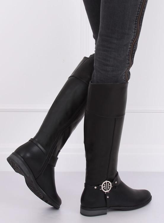 Kozaki oficerki czarne 6283-1 BLACK