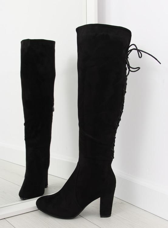 Kozaki sznurowane czarne 15135-51 BLACK