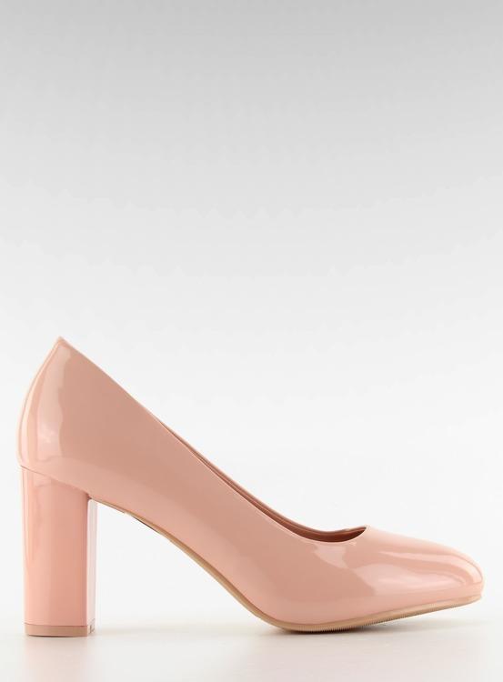 Lakierowane czółenka szeroki obcas m263p Pink