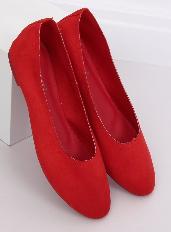 Miękkie baleriny damskie czerwone NK17P RED