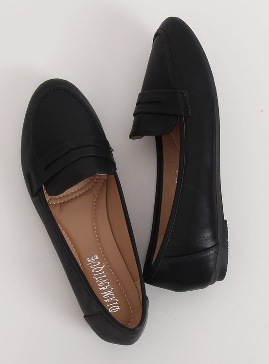 Mokasyny damskie czarne 98-29 BLACK