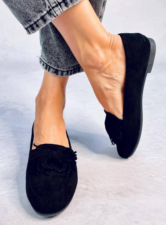 Mokasyny damskie czarne 99-72A BLACK