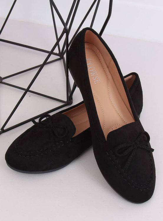 Mokasyny damskie czarne 9F127 BLACK