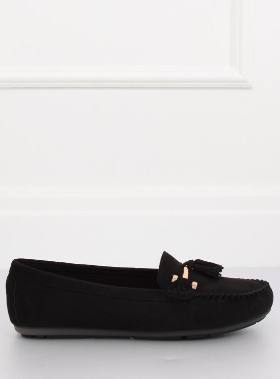 Mokasyny damskie czarne L7183 BLACK