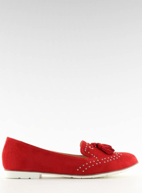 Mokasyny damskie czerwone 22-05 RED