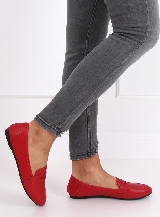 Mokasyny damskie czerwone 98-29 RED