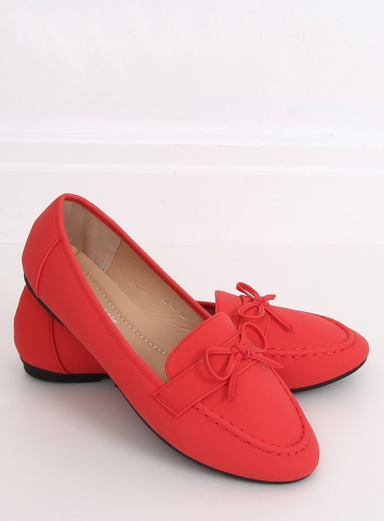 Mokasyny damskie czerwone 98-30 RED