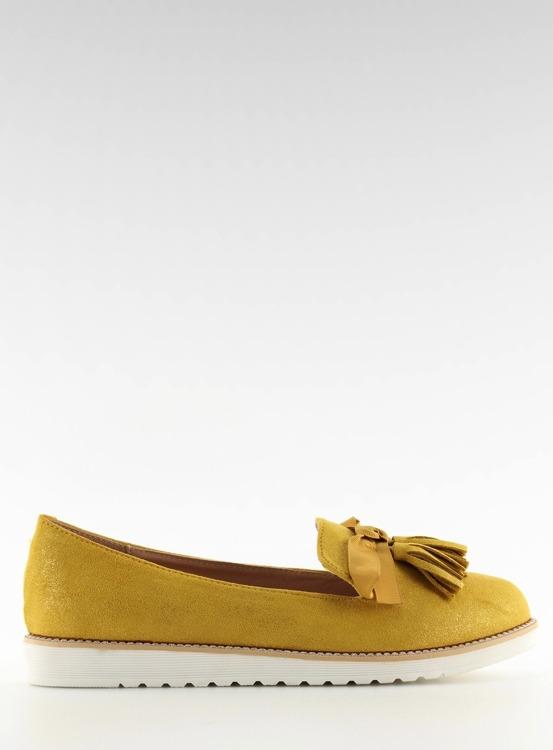 Mokasyny damskie z frędzelkami żółte 7214 YELLOW