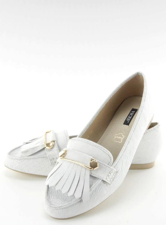 Mokasyny w stylu vintage białe 3052 WHITE