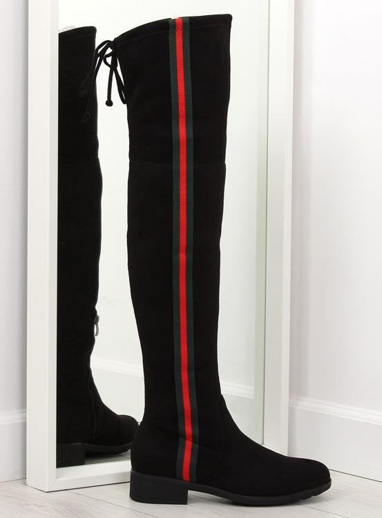 Muszkieterki z lampasem czarne HFN-0296-2 BLACK