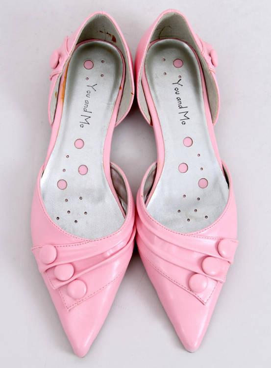 Pantoflelki z guzikami 39029-8A różowe