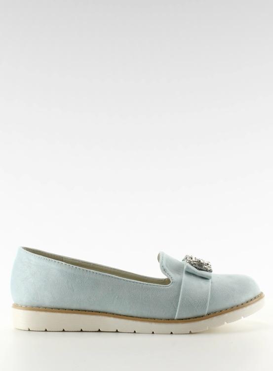 Pastelowe zamszowe mokasyny niebieskie T245 BLUE