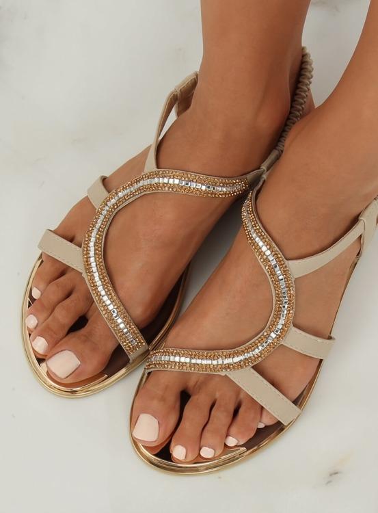 Sandałki asymetryczne beżowe GD4157 BEIGE
