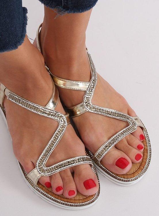 Sandałki asymetryczne złote ZY178 L.GOLD