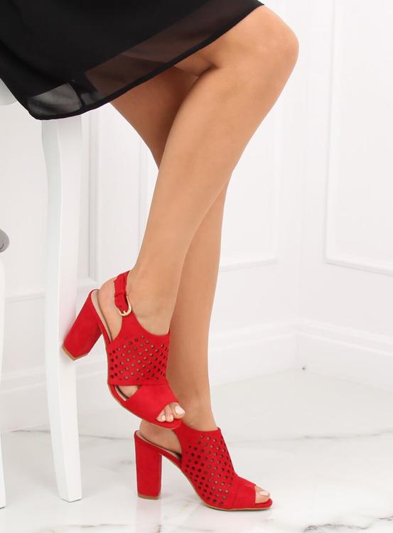 Sandałki ażurowe czerwone WED557 ROJO