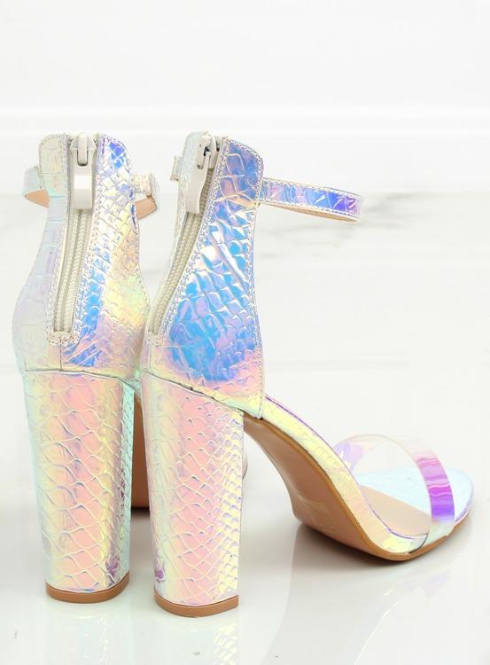 Sandałki benzynowy kolor srebrne BD344 SILVER