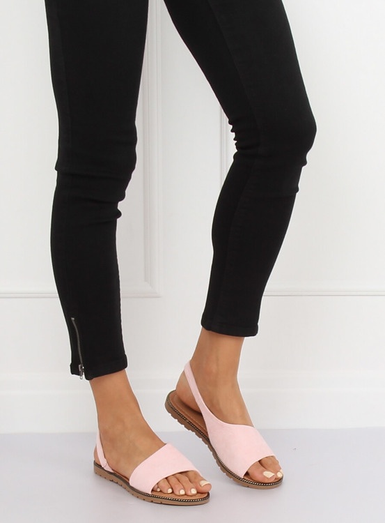 Sandałki damskie asymetryczne różowe 982 PINK