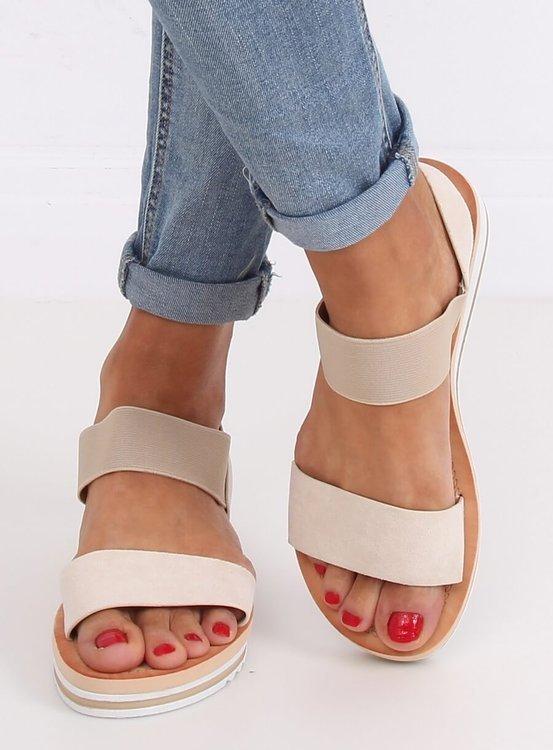Sandałki damskie beżowe E008 BEIGE