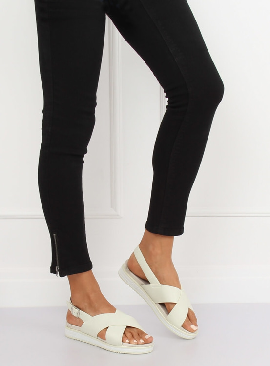 Sandałki damskie białe 1495 WHITE
