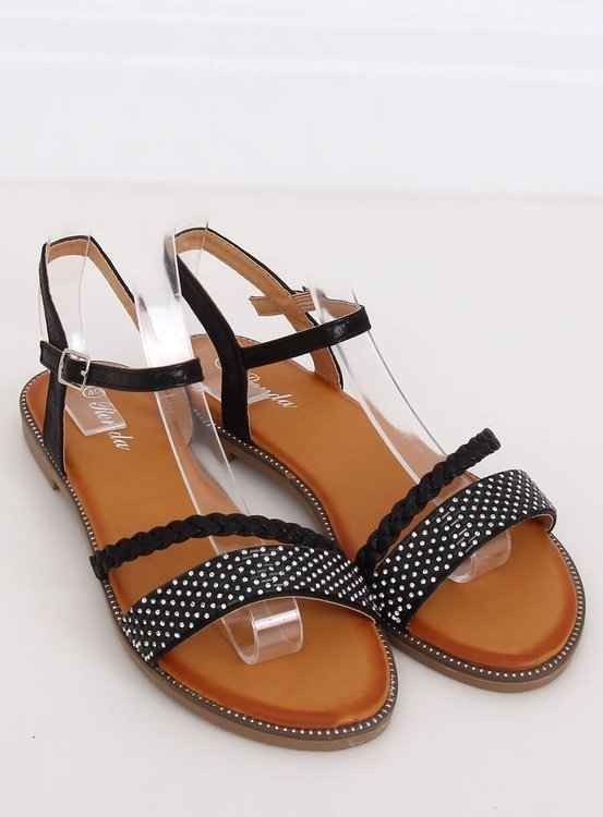 Sandałki damskie czarne 620-62 BLACK