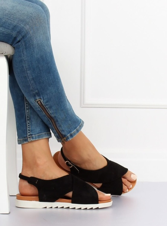 Sandałki damskie czarne 9003 BLACK
