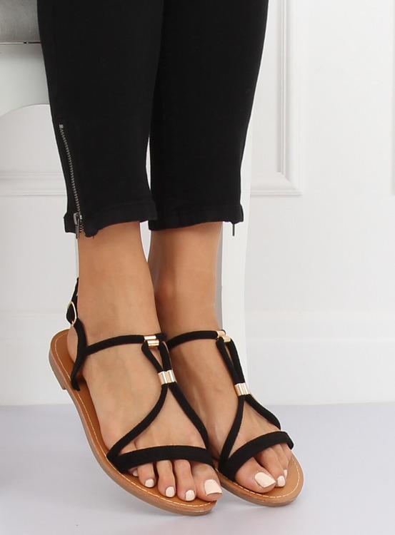 Sandałki damskie czarne L520 BLACK